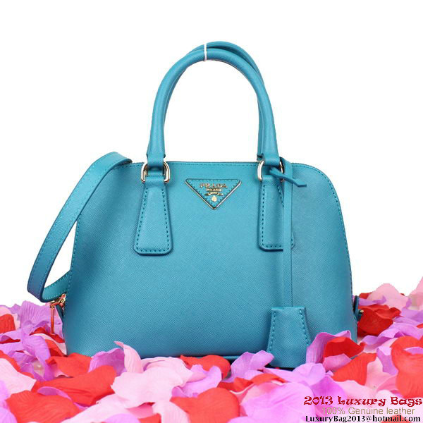 Prada BL0838 Saffiano Leather Tote Bag Light Blue