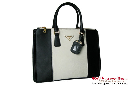 2013 Prada BN1786 White&Black Saffiano Leather Tote Bag