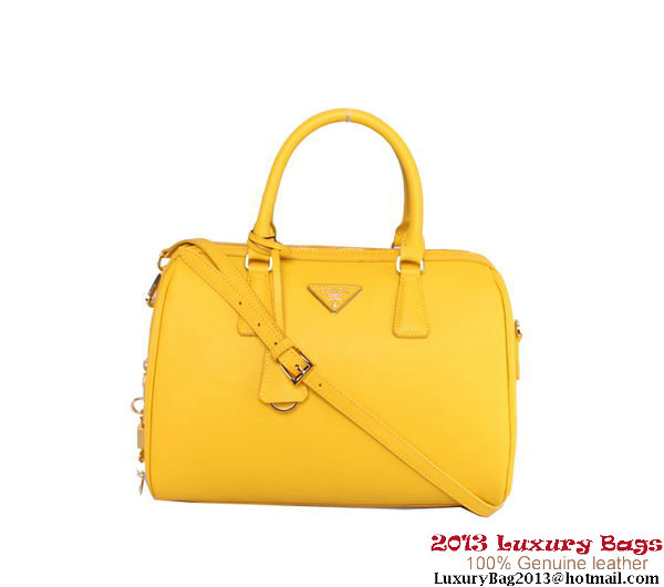 PRADA Saffiano Leather 32cm Two Handle Bag BN0823 Lemon