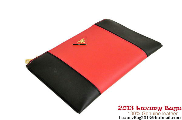 PRADA Saffiano Leather Clutch BP625C Black&Red