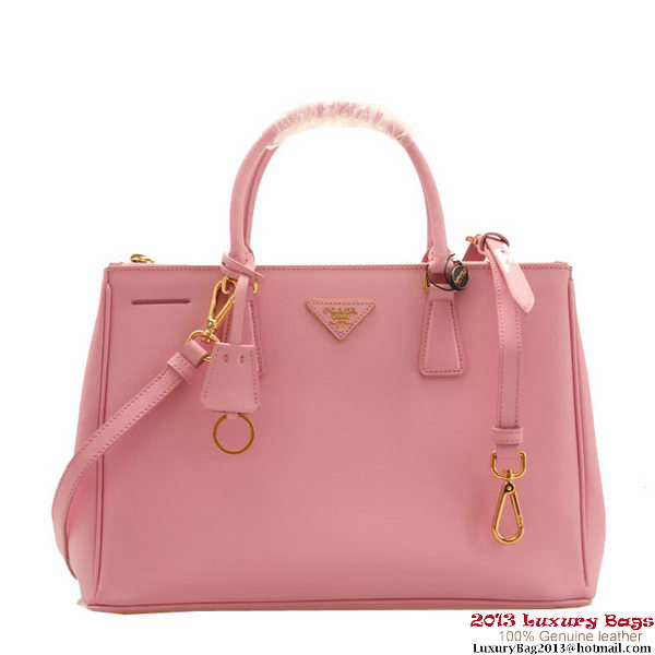 Prada BN2274 Saffiano Pink Calfskin Leather Tote Bag