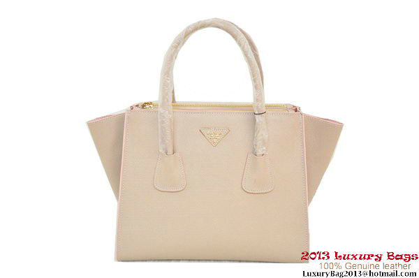 Prada Glace Calf Leather Tote Bag BN2619 Light Pink