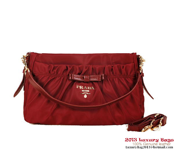Prada Nylon Fabric Shoulder Bag BN1560 Burgundy