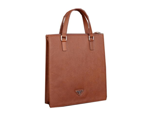 Prada Saffiano Calf Leather Tote Bag 80087-2 Brown