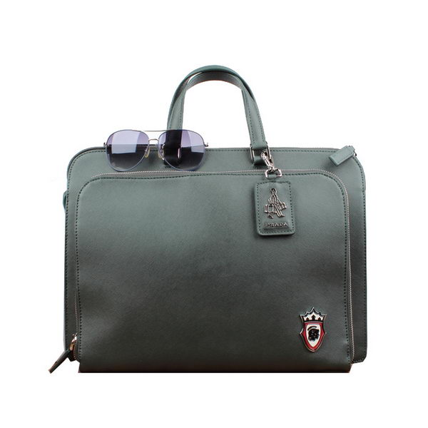 PRADA Saffiano Calf Leather Briefcase VR006 Green