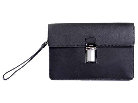 PRADA Saffiano Leather Flap Clutch VR0092 Black