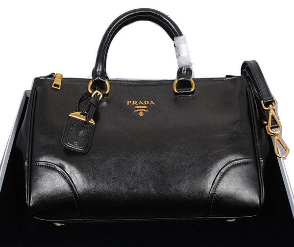 Prada Shiny Calf Leather Tote Bag BN6250 Black
