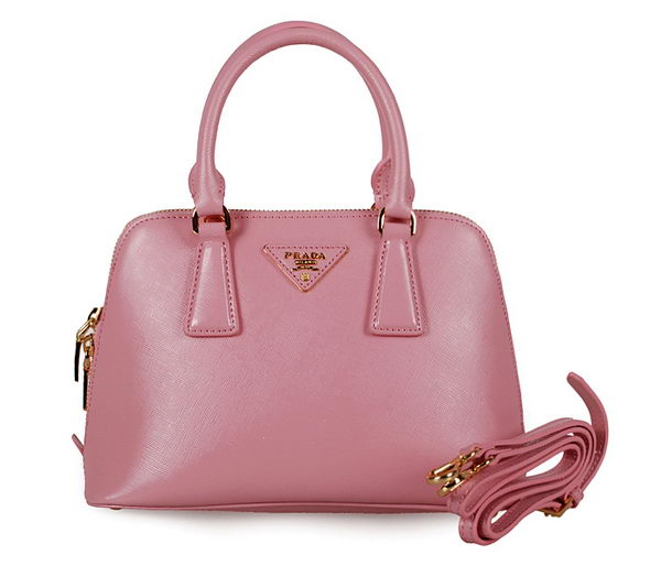 Prada Shiny Saffiano Leather Two Handle Bag BL0838 Pink
