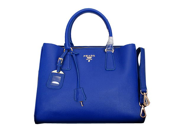 Prada Grainy Calf Leather Tote Bag BN2961 Blue