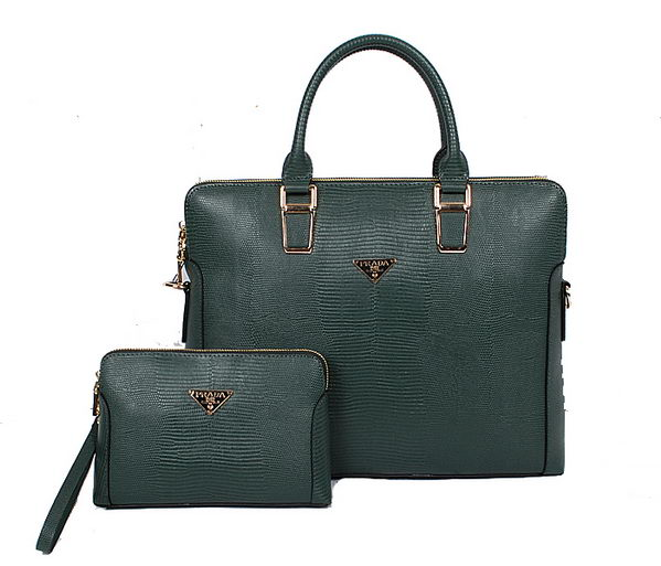Prada Lizard Leather Briefcase 86031 Dark Green
