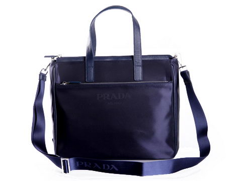PRADA Tessuto Canvas Tote Bag VA0632P Dark Blue