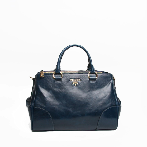 PRADA BN2324 Dark Blue Bright Leather Tote Bag