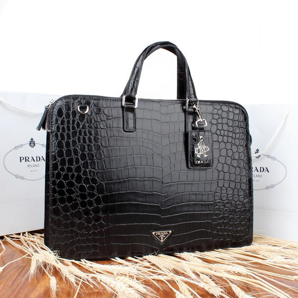 Prada Croco Calf Leather Briefcase VR0788 Black