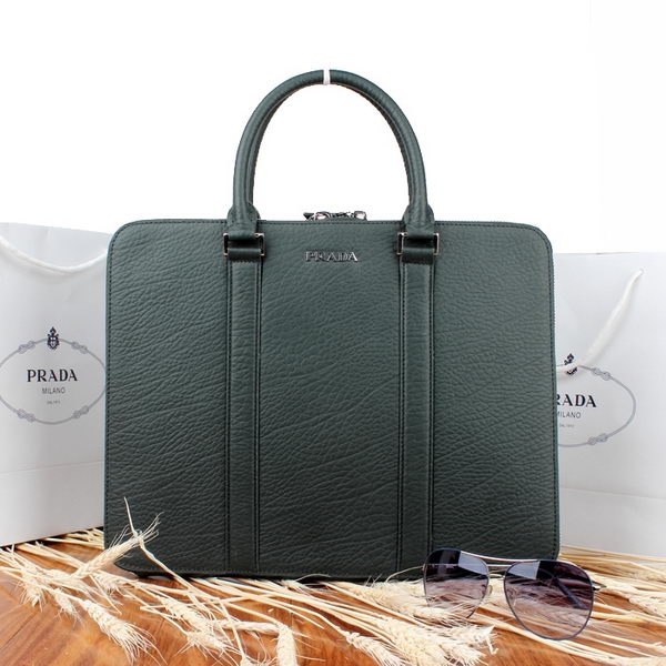 Prada Grainy Calf Leather Briefcase P00105 Green