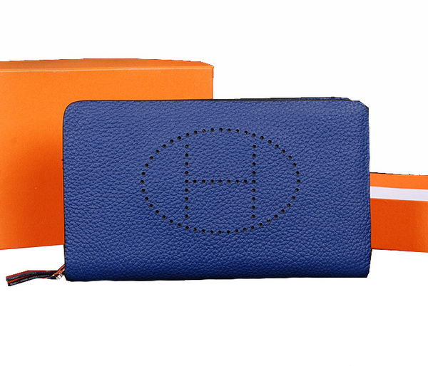 Hermes Evelyn Clutch in Grainy Leather H1013 RoyalBlue