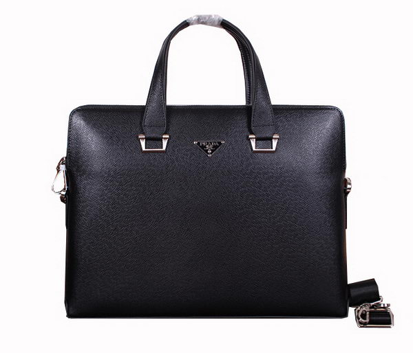 Prada Saffiano Calf Leather Briefcase 21125 Black