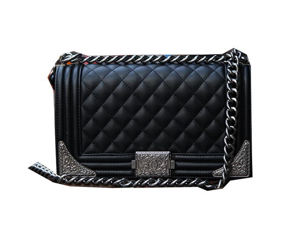 Boy Chanel Flap Bag Embellished with Metal Adornments A90423 Black