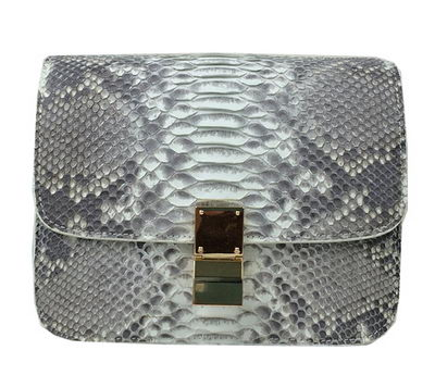 Celine Classic Box Small Flap Bag Genuine Snake C11042 Grey&White