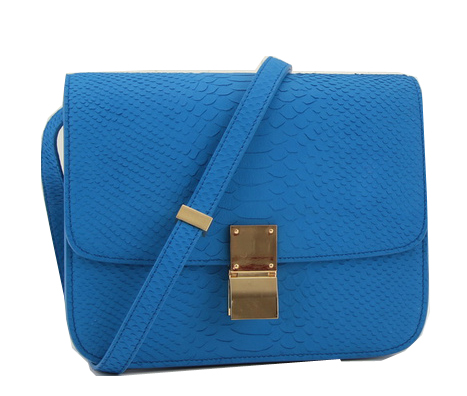 Celine Classic Box Small Flap Bag Original Snake Leather 11042 Blue