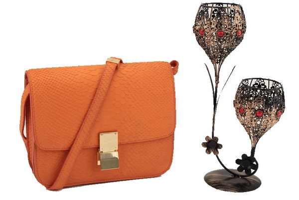 Celine Classic Box Small Flap Bag Smooth Leather 11042 Orange