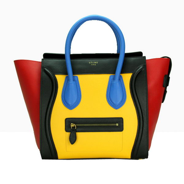 Celine Luggage Mini Bag Smooth Leather CL88022 Yellow&Black&Red