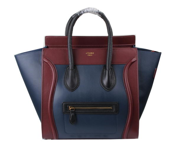 Celine Luggage Mini Tote Bag Original Leather Ci3308 Royal&Burgundy&Black
