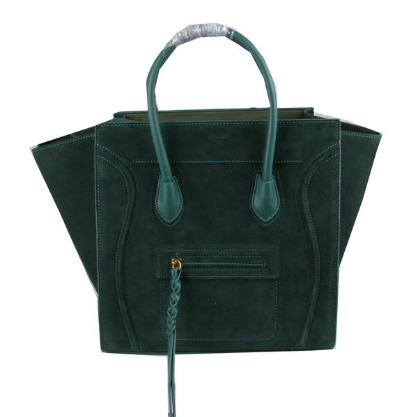 Celine Luggage Phantom Tote Bag Suede Leather 3341 Green