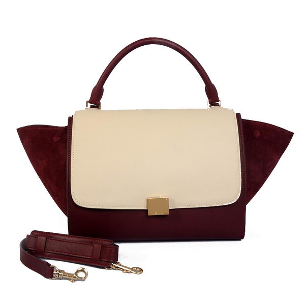 Celine Trapeze Bag Calfskin & Nubuck Leather C008B Beige&Burgundy