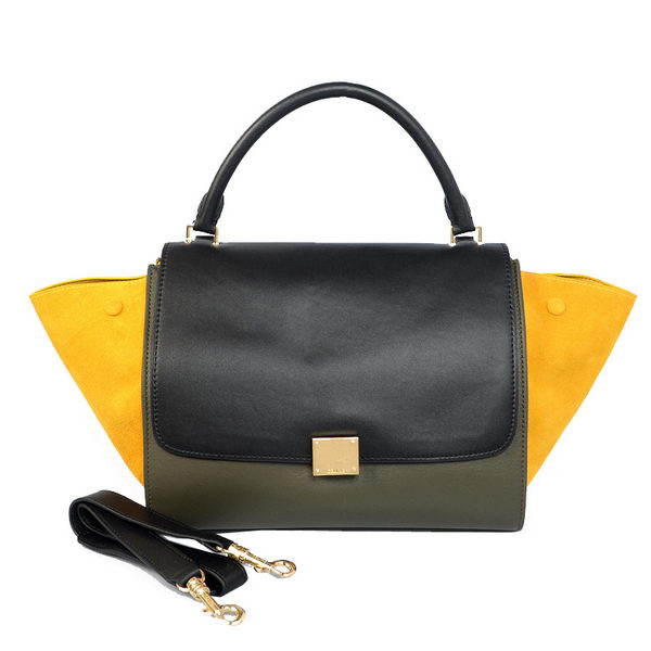 Celine Trapeze Bag Calfskin & Nubuck Leather C008B Black&Green&Yellow