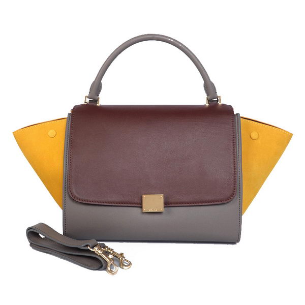 Celine Trapeze Bag Calfskin & Nubuck Leather C008B Brown&Grey&Yellow