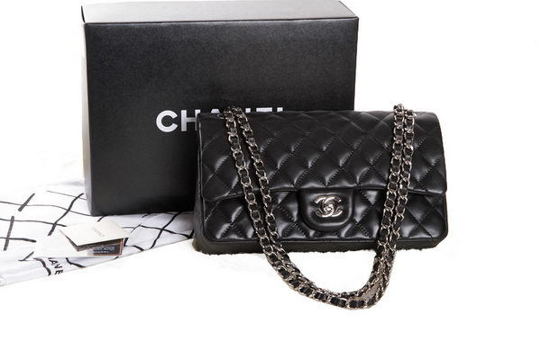 Chanel 2.55 Series Black Original Leather Classic Flap Bag A01112 Silver