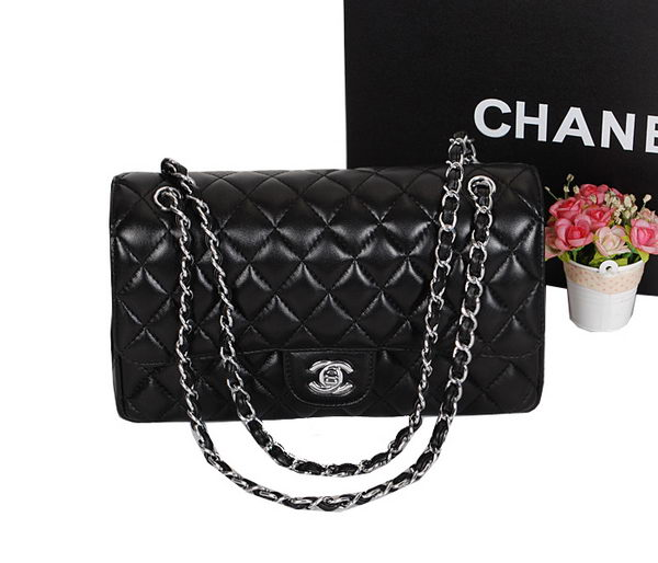 Chanel 2.55 Series Classic Flap Bag 1112 Black Sheepskin Leather Silver