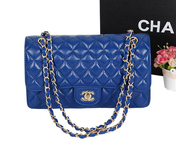 Chanel 2.55 Series Classic Flap Bag 1112 RoyalBlue Sheepskin Leather Gold