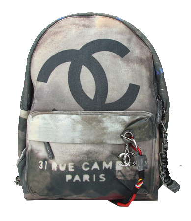 Chanel A92318 Black Large Graffiti Printed Canvas Backpack