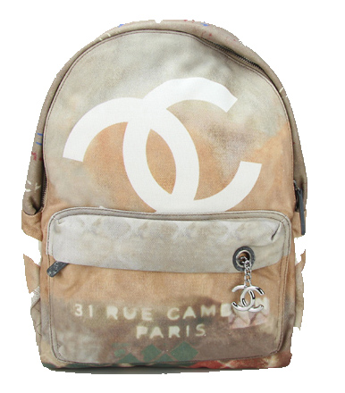 Chanel A92318 Wheat Large Graffiti Printed Canvas Backpack