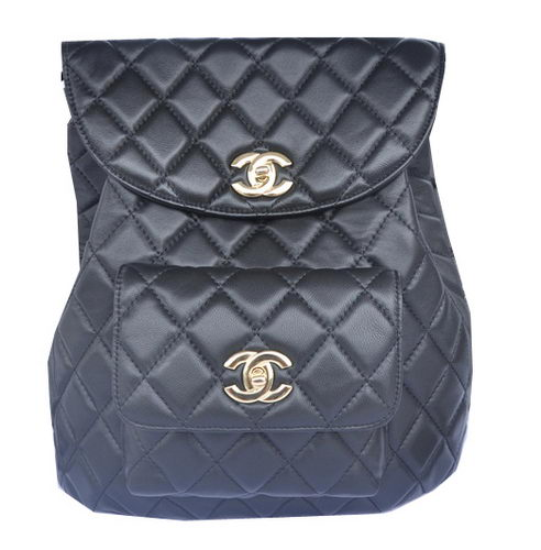 Chanel Backpack Sheepskin Leather A9036 Black