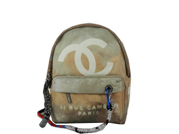 Chanel CHA92318 Wheat Large Graffiti Printed Canvas Backpack