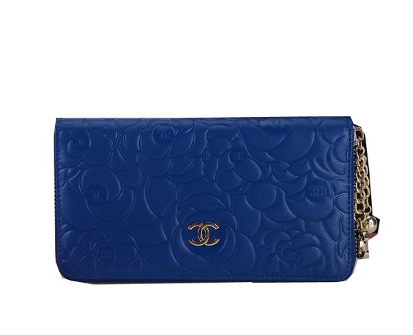Chanel Camellias Zip Around Wallet CHA38455 Blue