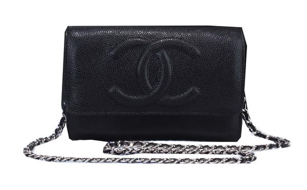 Chanel Cannage Pattern Leather Flap Shoulder Bag A8892 Black