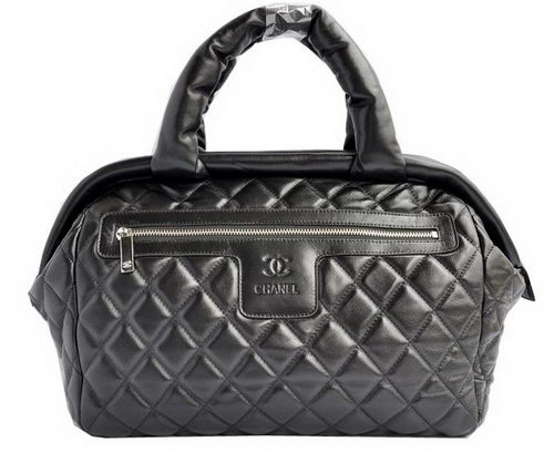 Chanel Coco Cocoon Satchel Bag Sheepskin A47205 Black