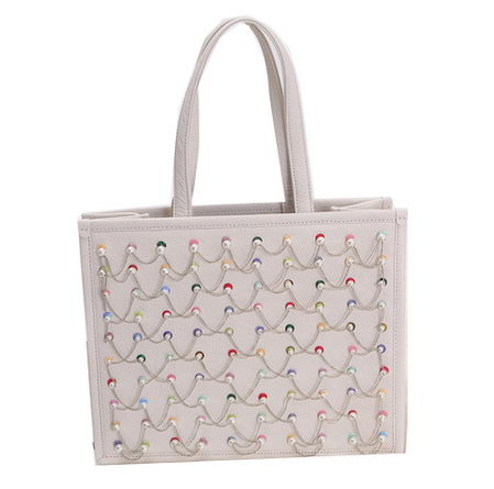 Chanel Embroidery Tote Bag A90148 White