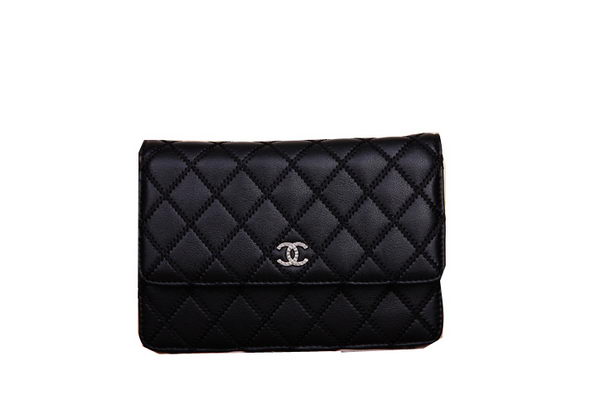 Chanel mini Flap Shoulder Bags Black Leather CHA66330 Silver