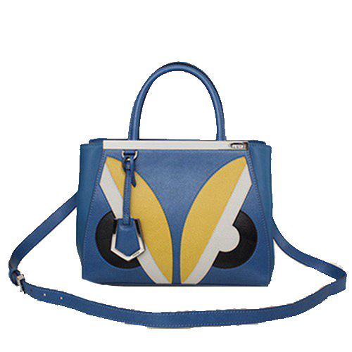 Fendi 2Jours Mini Tote Bag Original Leather F2602 Blue