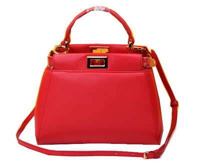 Fendi mini Peekaboo Bag Sheepskin Leather FD520885 Red