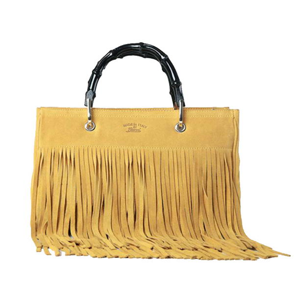 Gucci Bamboo Fringe Shopper Suede Tote Bag 349198 Yellow
