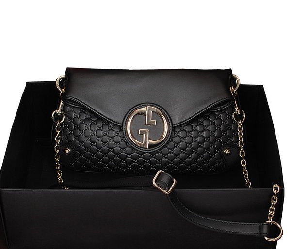 Gucci Black pearl leather Chain Shoulder Bag 336746