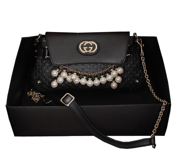 Gucci Black pearl leather Chain Shoulder Bag 336747