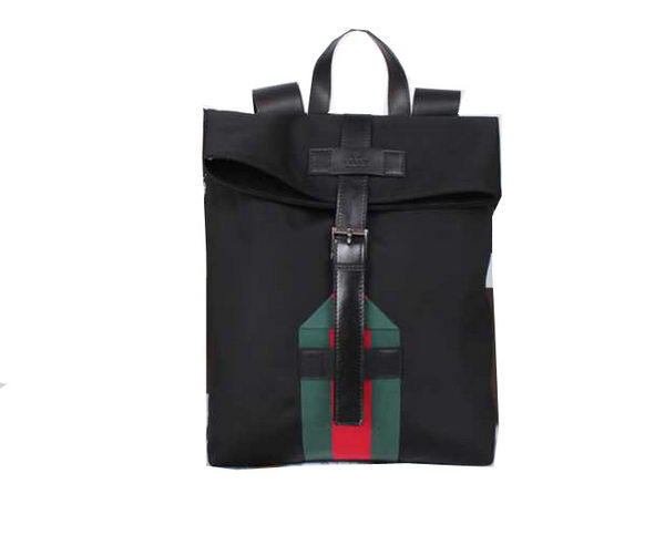 Gucci Flap Backpack Canvas 337076 Black