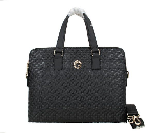 Gucci Guccissima Leather Business Briefcase 52271 Black