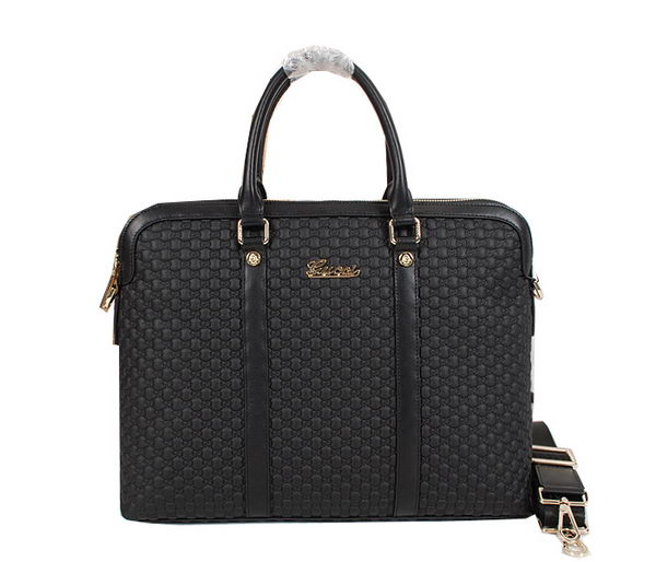 Gucci Guccissima Leather Business Briefcase 821981 Black